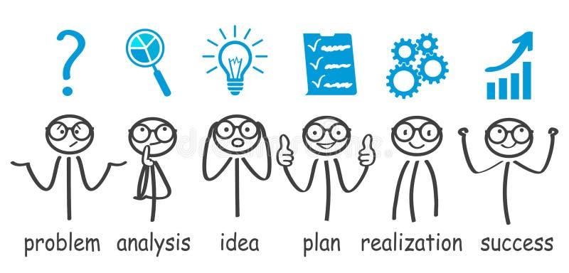 """跨步决策问题,解决过程,发电器想法,成功†""""传染媒介 库存例证"""
