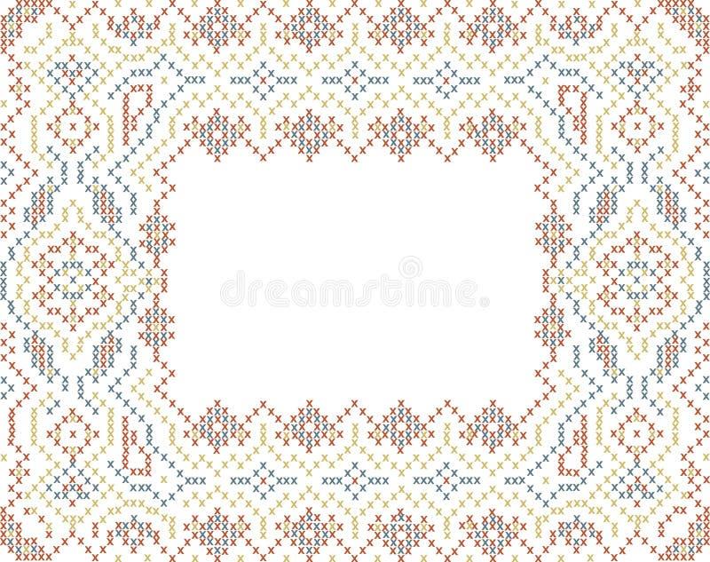 Download 跨被缝的种族样式框架 向量例证. 插画 包括有 毛巾, 几何, 经典, 模式, 红色, 伙计, 手工制造 - 72356101
