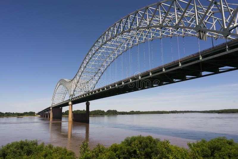 跨过密西西比河阿肯色田纳西的埃尔南多德索托桥梁 免版税库存照片
