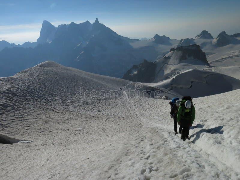 路三Monts向勃朗峰4810m 库存照片