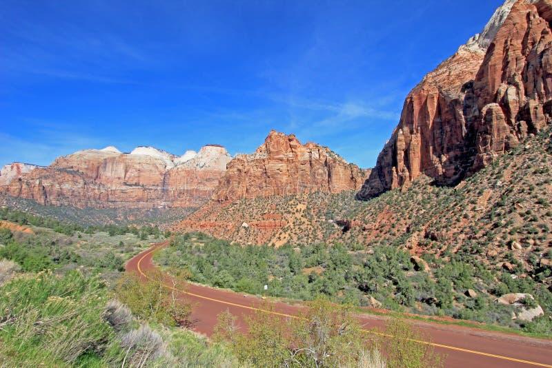 路主导的低谷锡安国家公园,美国五颜六色的风景和山  免版税图库摄影