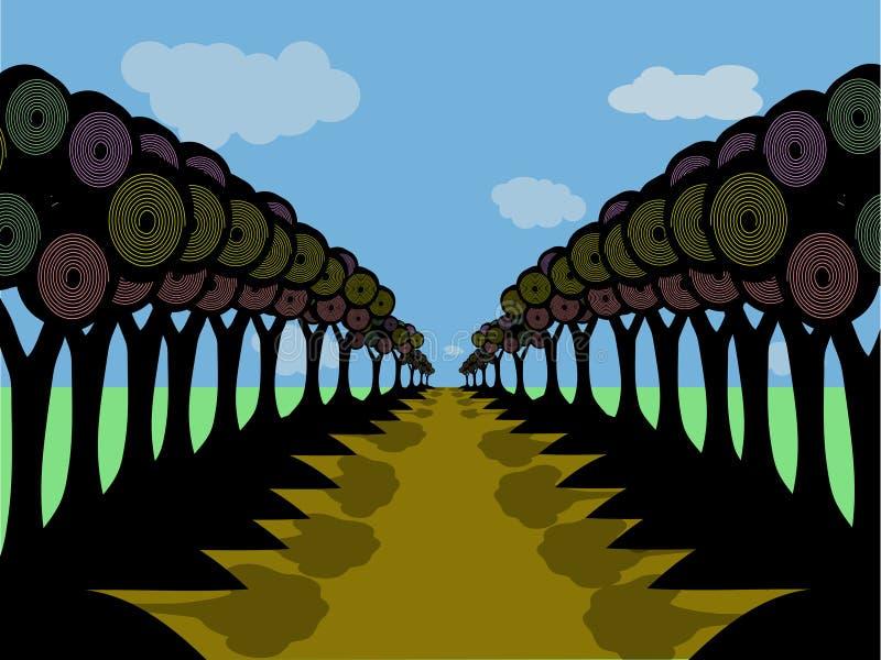 路剪影结构树 向量例证