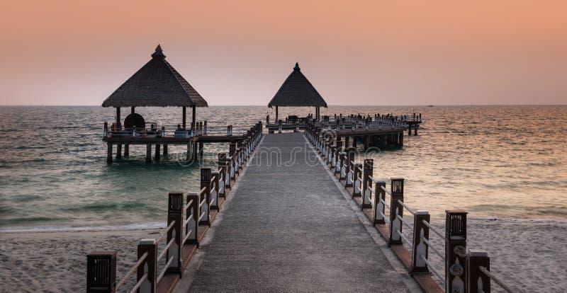 路向海,西哈努克海滩,柬埔寨。 图库摄影