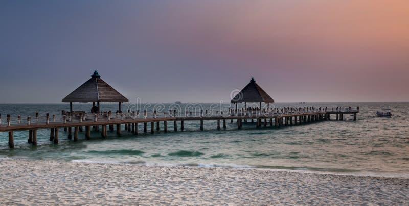 路向海,西哈努克海滩,柬埔寨。 免版税库存图片
