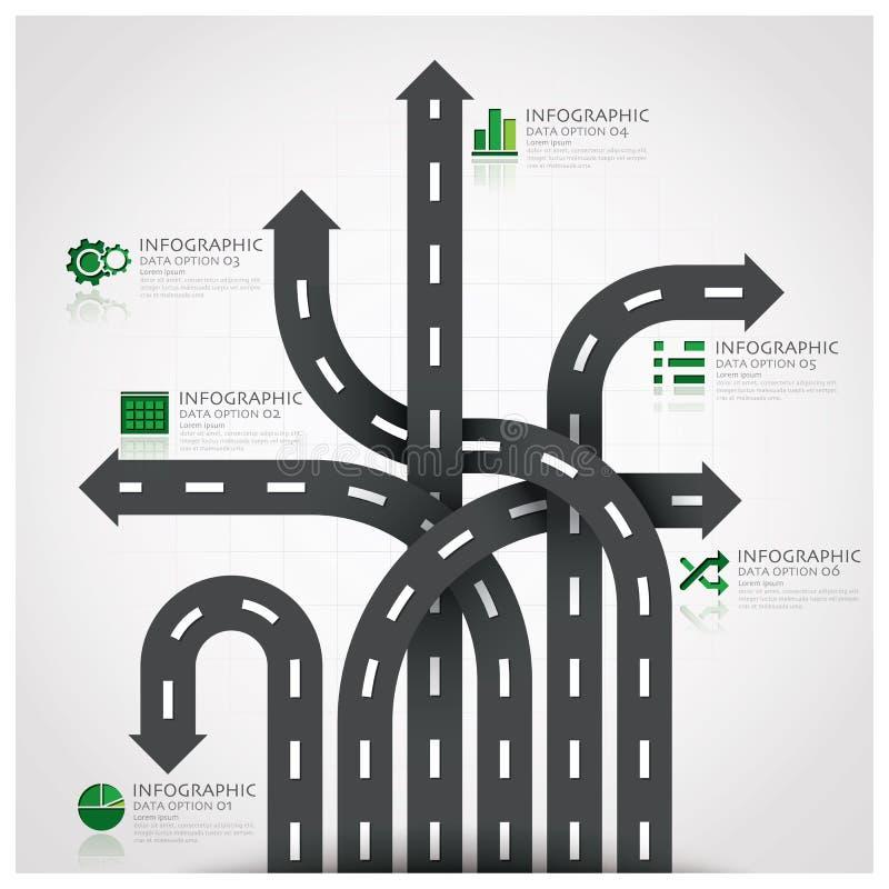 路和街道与编织A的交通标志事务Infographic 库存例证