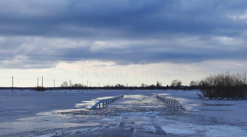路和领域在洪水,立陶宛 免版税库存图片