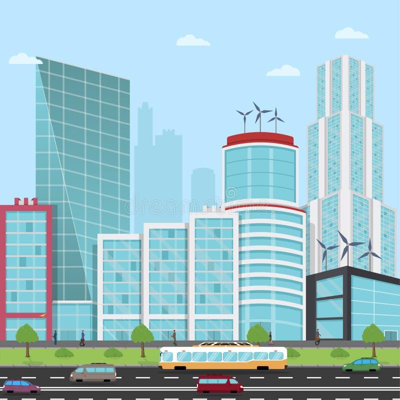 路在一个现代城市视图摩天大楼,商人,寄生虫,有hoverboard的商人,飞行的汽车 皇族释放例证