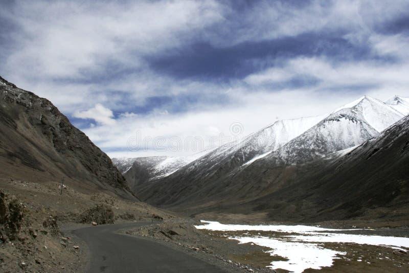 路在喜马拉雅山向Pangong湖, Lah,拉达克,印度 免版税库存照片