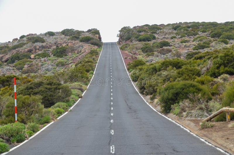 路在多云天在El泰德峰国家公园 库存照片