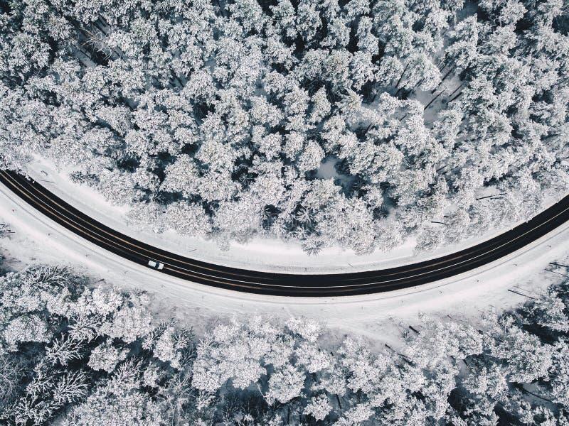 路寄生虫鸟瞰图在多雪的森林里 库存图片