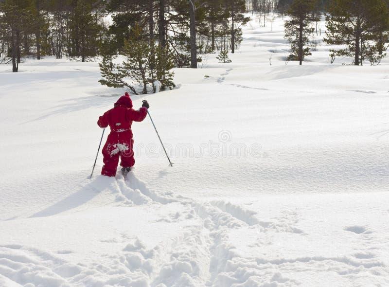 路径滑雪的子项 免版税图库摄影
