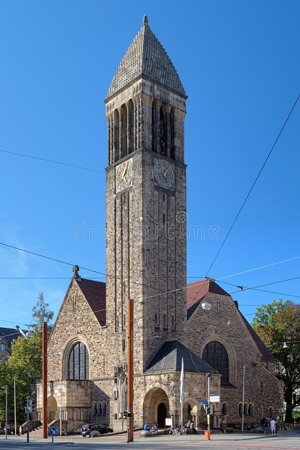 路德教会在卡尔斯鲁厄,德国 库存照片