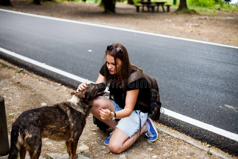 路旁的妇女与一条无家可归的狗,一起旅行 免版税图库摄影
