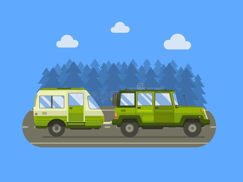 路旅客SUV和露营搬运车概念 库存例证