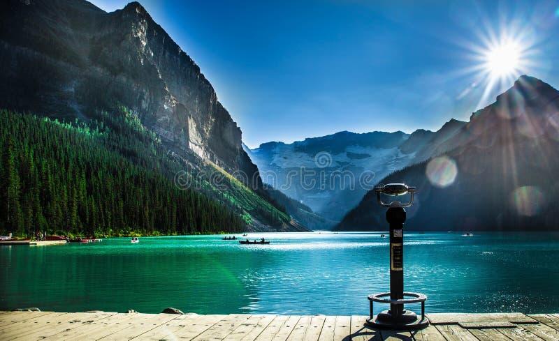 路易丝湖美丽的景色  库存图片