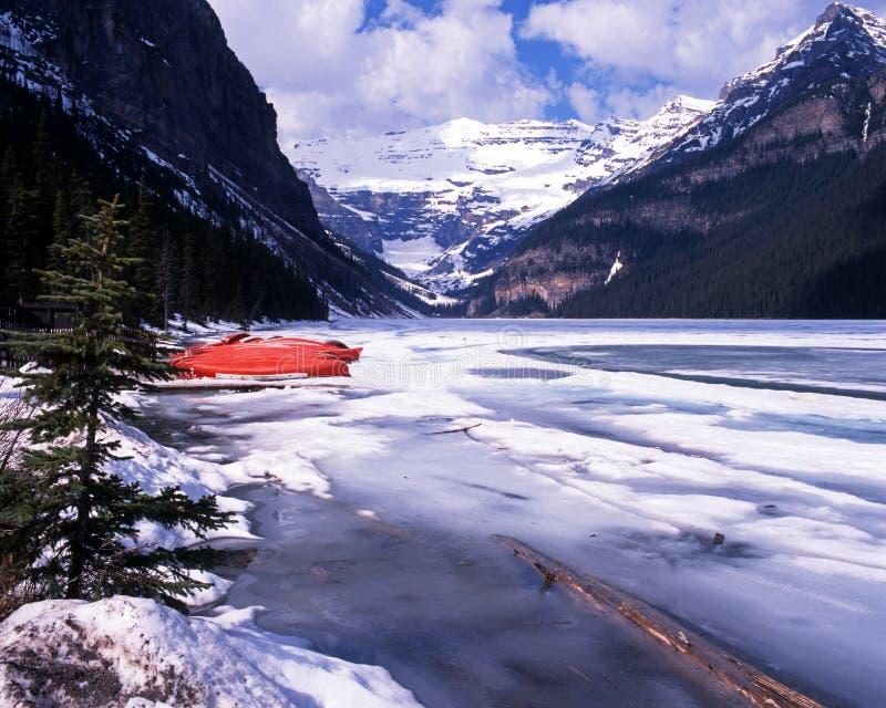 路易丝湖,亚伯大,加拿大。 免版税库存照片