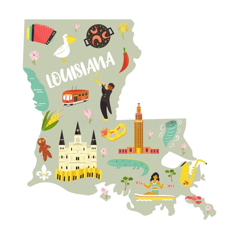 路易斯安那与地标和标志的动画片地图 向量例证
