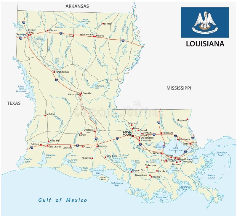 路易斯安那与旗子的路线图 库存例证