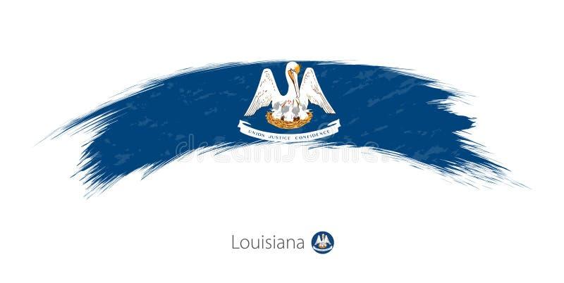 路易斯安那的旗子被环绕的难看的东西刷子冲程的 皇族释放例证