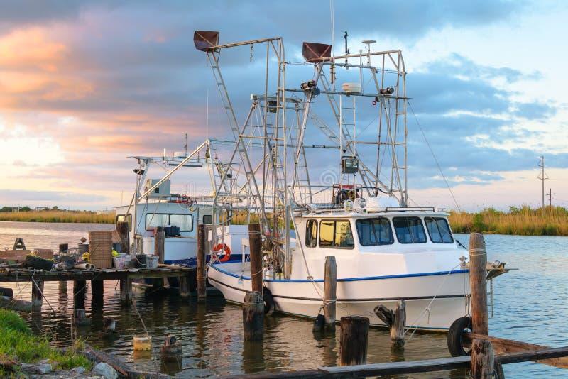 路易斯安那虾小船 库存照片