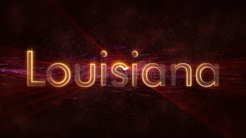 路易斯安那-发光的使成环的状态名字文本动画 库存例证