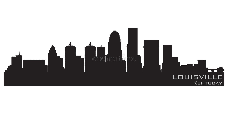 路易斯维尔,肯塔基市地平线 详细的传染媒介剪影 库存例证