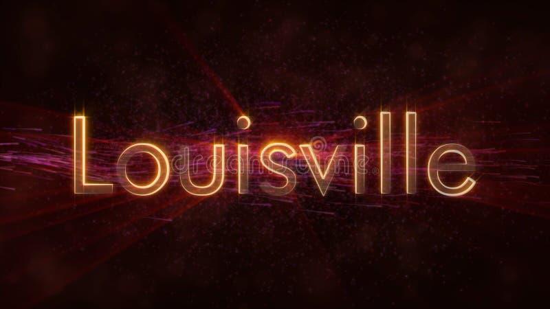 路易斯维尔-发光的使成环的城市名字文本动画 库存例证