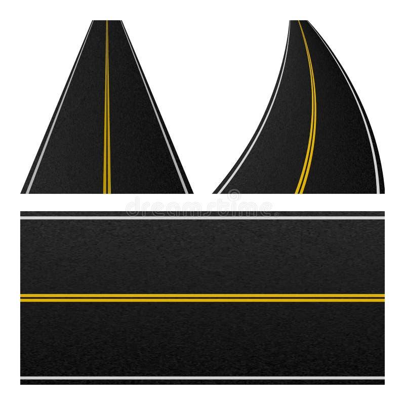 路条纹的元素 套标号高速公路 空的交通路样式 也corel凹道例证向量 库存例证
