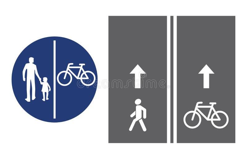 路标、步行者和自行车骑士,传染媒介例证象 圆蓝色交通标志 在路基的白色图象 库存例证