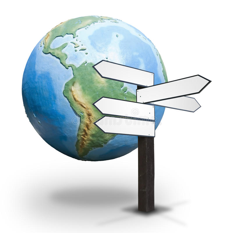 路标和地球地球 库存例证