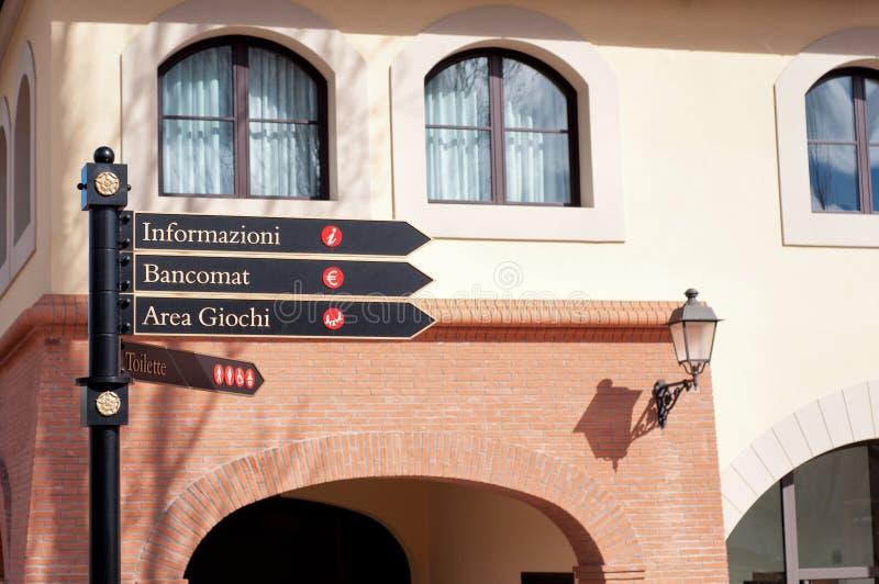 路标在意大利 免版税库存图片