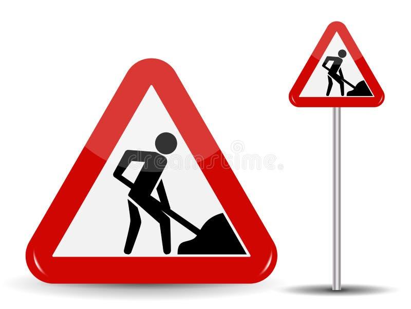 路标警告道路工程 在红色三角有铁锹的一个人在他的手上 也corel凹道例证向量 库存例证