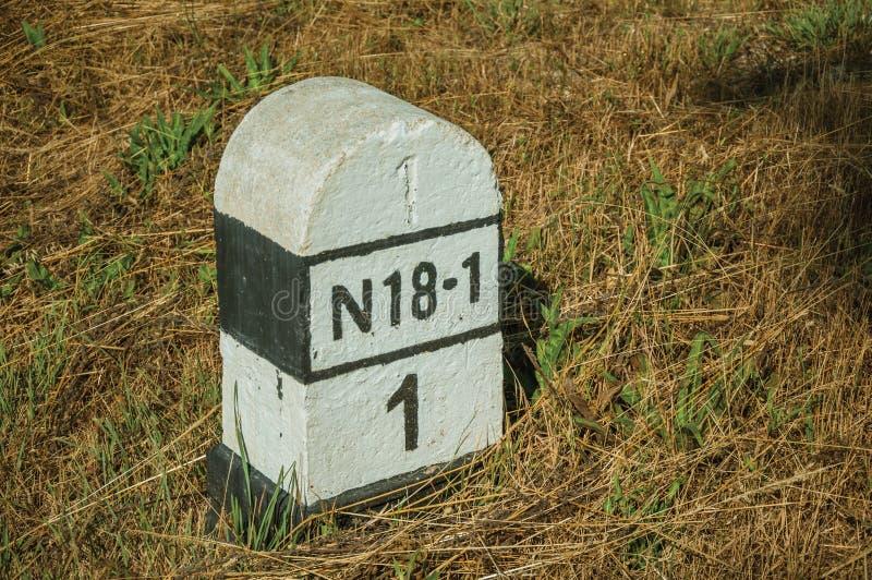 路标记看法由水泥制成 免版税库存图片