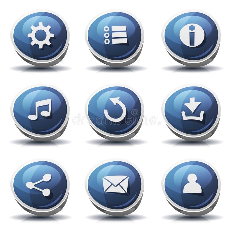 路标象和按钮Ui比赛的 库存例证