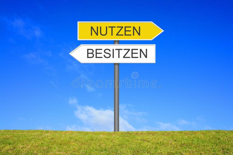 路标陈列用途或拥有德语 库存照片
