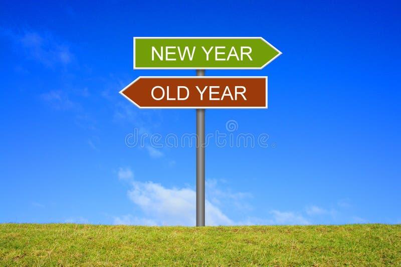 路标陈列老年和新年 免版税库存照片