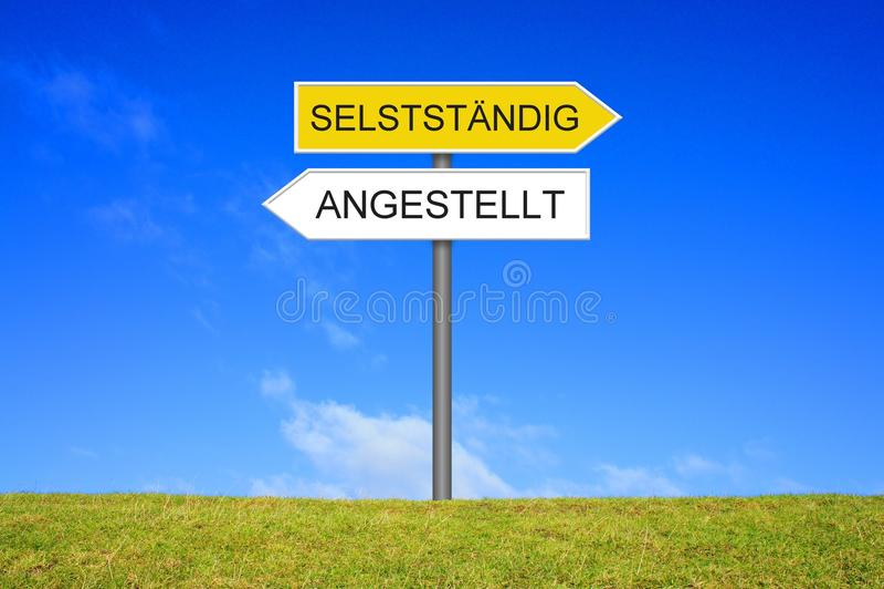 路标陈列被雇用的或自己经营的德语 图库摄影