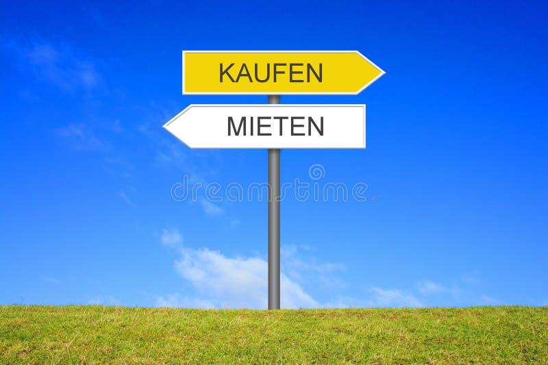 路标陈列购买或租德语 免版税图库摄影