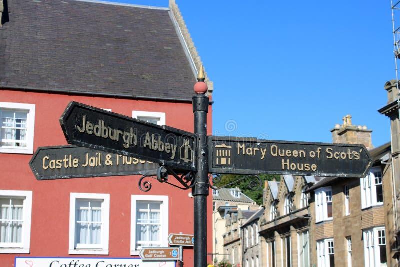 路标,Jedburgh修道院,城堡监狱,Jedburgh 库存照片