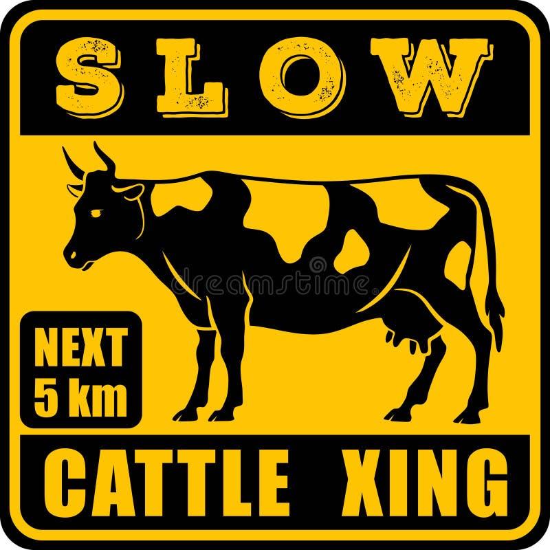 路标-注意动物,牛横渡 r 皇族释放例证