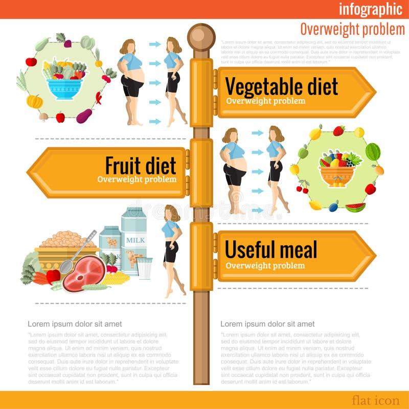路标infographic与dietsl和有用的膳食不同  菜饮食,frui饮食, 库存例证