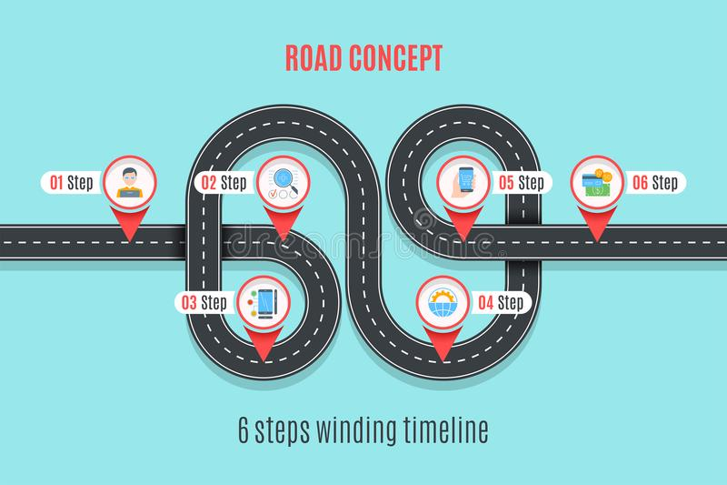 路概念时间安排, infographic图,平的样式 皇族释放例证