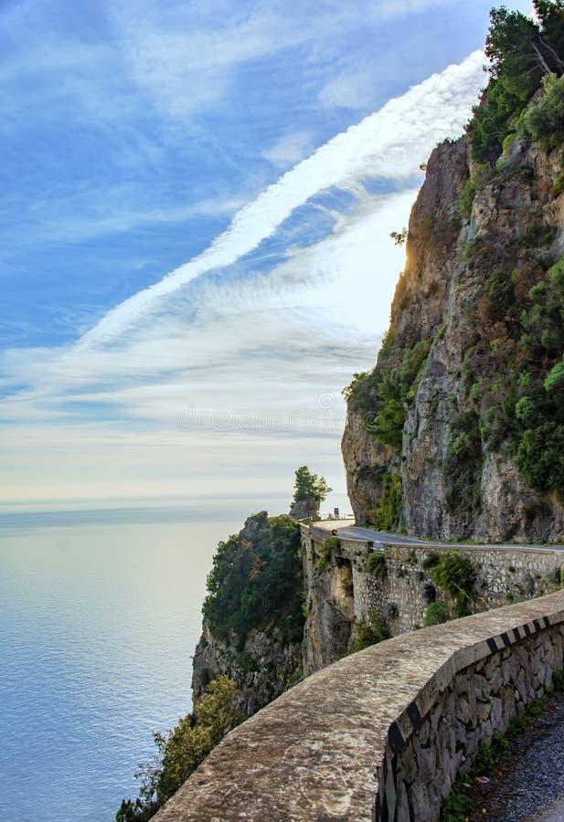 路波西塔诺村庄,从阿马飞海岸,意大利 免版税图库摄影
