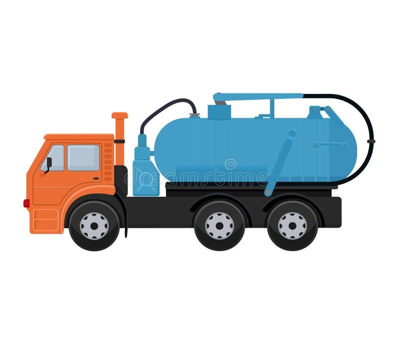 路清洗的机器传染媒介车卡车扫除机擦净人洗涤城市街道例证,vehicle van car挖掘机 库存例证