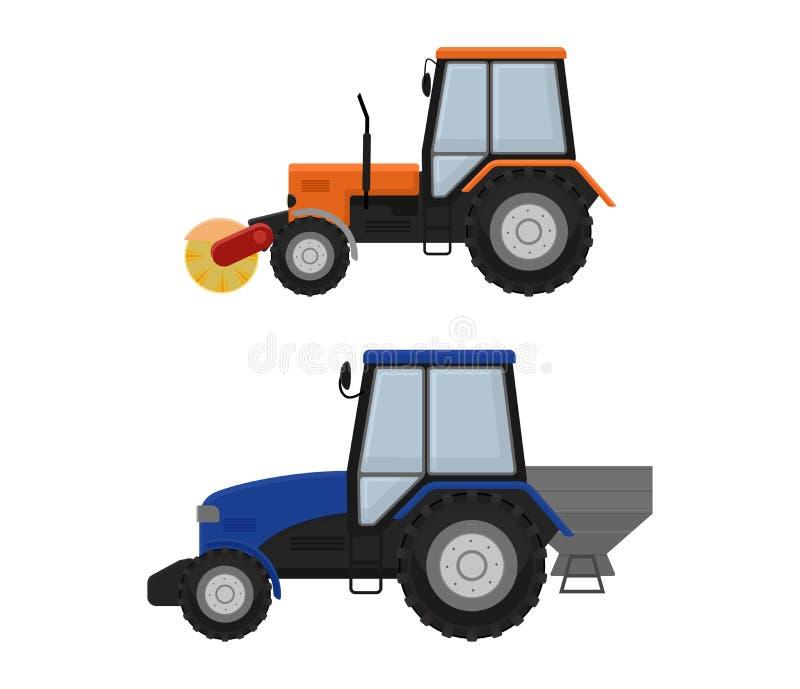 路清洗的机器挖掘机拖拉机传染媒介车卡车扫除机擦净人洗涤城市街道例证,车搬运车 库存例证