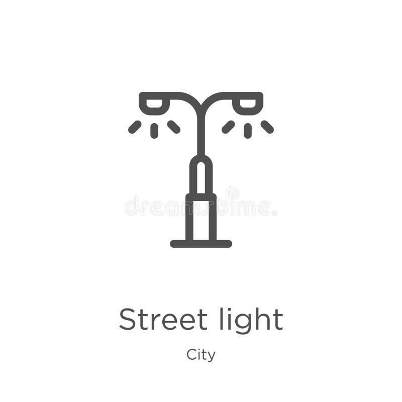 路灯到底从城市汇集的象传染媒介 稀薄的线路灯到底概述象传染媒介例证 概述,稀薄的线街道 库存例证