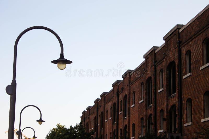 路灯柱和砖瓦房马德罗港细节 免版税库存图片