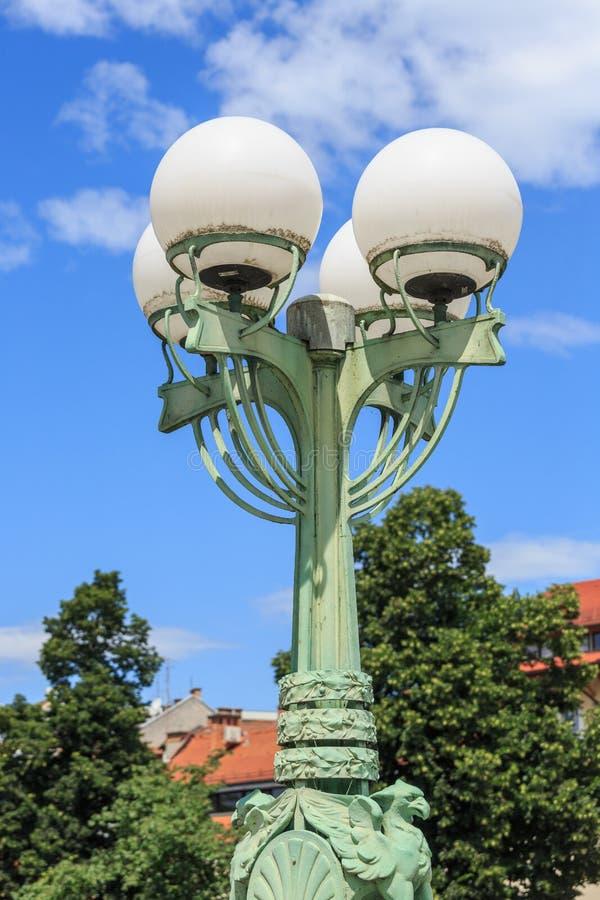 路灯柱在卢布尔雅那 斯洛文尼亚 免版税库存图片