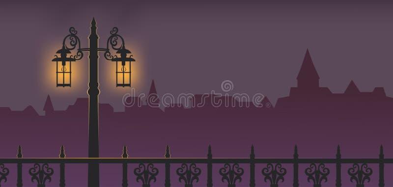路灯柱在晚上 库存例证