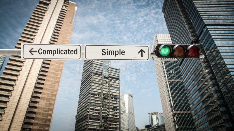 路牌简单对复杂化 免版税图库摄影